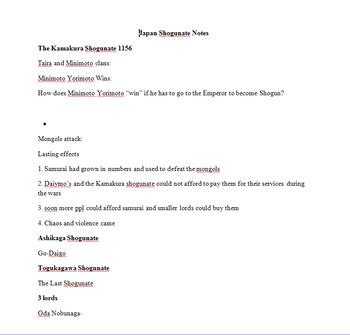Japanese Isolationism and Tokugawa Shogunate -- PowerPoint, Notes + Assignment