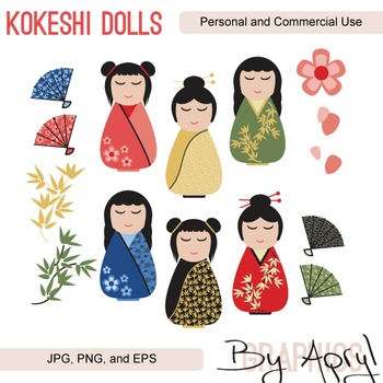 Japanese Kokeshi Dolls Girl Clip Art JPG PNG and Vector EPS Commercial Use
