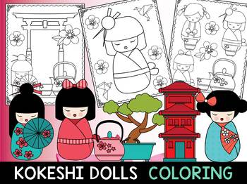 Japanese Kokeshi Dolls - The Crayon Crowd Coloring Pages