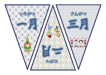 Japanese: Months of the year Bunting