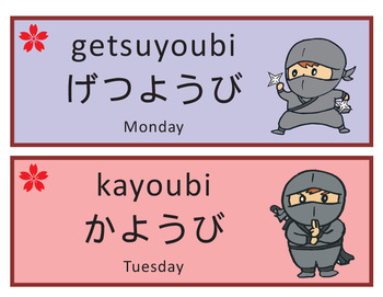 Japanese Ninja Days of the Week