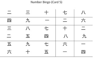 Japanese Number Bingo Set