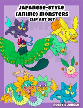 Japanese-Style Cartoon (Anime) Monsters or Aliens Clip Art Set