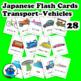 Japanese Transport Vehicles Flash Cards. Bike, truck, bus,