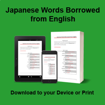 Japanese Words Borrowed from English