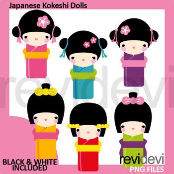 Japanese girls clip art, kokeshi dolls clipart