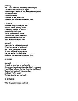 Jar Of Hearts - Christina Perri listening activity
