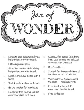 Jar of Wonder Behavior Incentive
