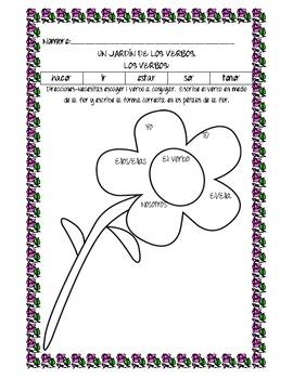 Jardin de verbos (conjugating verbs)