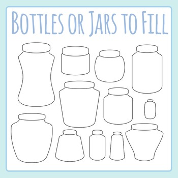 Jars or Bottles Black and White Clip Art for Commercial Use