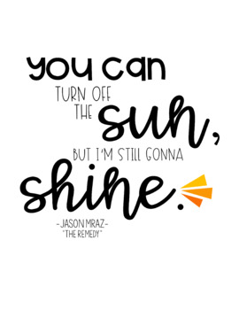 Jason Mraz Song Lyrics Inspiring And Motivating Quote Posters Tpt