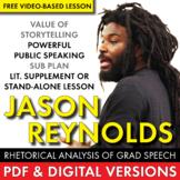 Jason Reynolds FREE Rhetorical Analysis Lesson, Public Speaking, Sub Plan CCSS