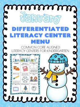 January Differentiated Literacy Center Word Work Menu (Common Core Aligned)