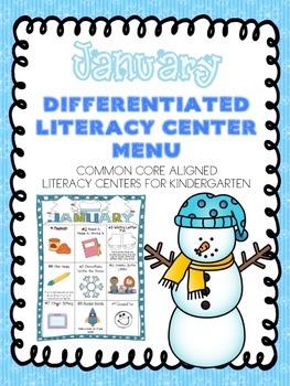 January Differentiated Literacy Center Word Work Menu (Com