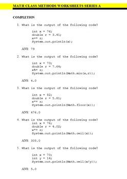 Java Math Class Worksheets - JUMBO 90 PACK BONUS - Now 100 WORKSHEETS