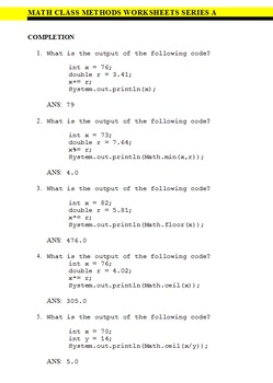 Java Math Class Worksheets - 5 PACK