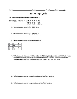 Java Programming - 2D Array Quiz