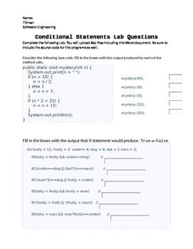 Java Programming - Conditional Statements Lab