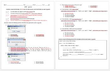 Java Programming - GUI Quiz