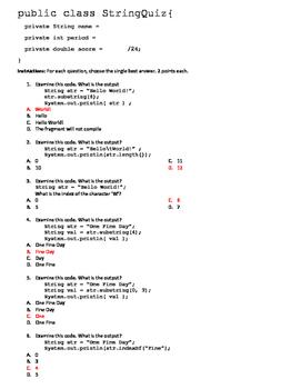 Java Programming String Quiz