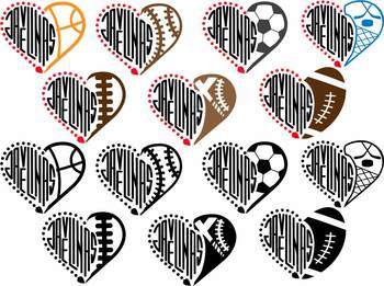 Javelinas Sport Heart SVG TEXAS NFL nba mlb ncaaf Cheer high School Spirit 914S