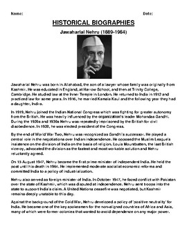 Jawaharlal Nehru (1889-1964) Biography Article and (3) Assignments