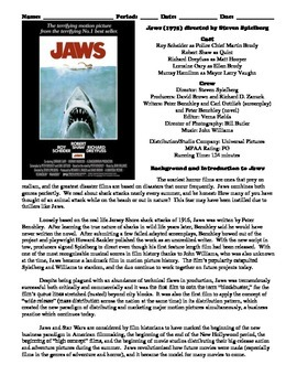Jaws Film (1975) Study Guide Movie Packet