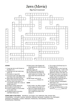 Jaws (Movie) - Crossword Puzzle