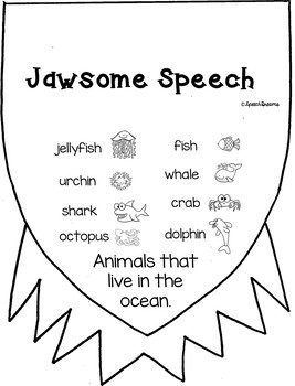 Jawsome Shark Speech Craftivity Summer Beach theme craft