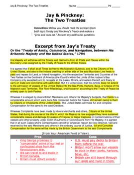 "Jay's Treaty & Pinckney's Treaty / ""Pros and Cons"" Activity / Primary Sources"