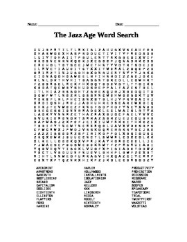 Roaring 20's: Jazz Age Word Search