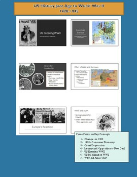 Jazz Age to WWII - US History (PowerPoints, Primary Sources, Activities)