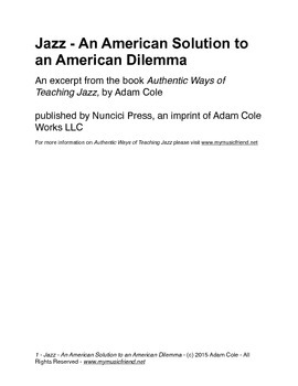Jazz - An American Solution to an American Dilemma
