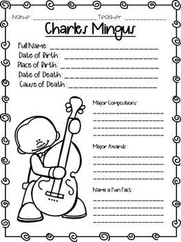 Jazz Artist Research Sheets