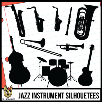 Jazz Band Instrument Silhouettes Clip Art