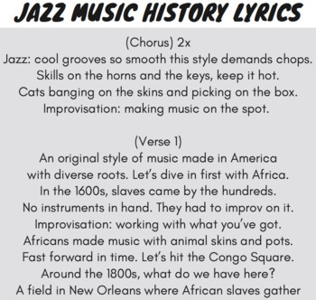 Jazz History Sequence of Events Reading Passage and Worksheets Using Rap Song