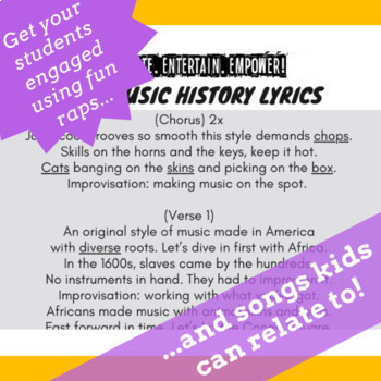 History of Jazz Music: Jazz Music History Worksheets, Reading Activities & Song