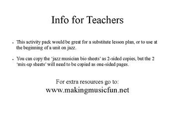 Jazz Musician Activity Pack- Sub Plans