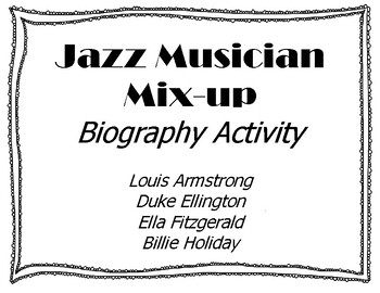 Jazz Musician Activity Pack- Sub Plans