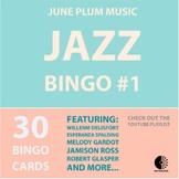 Jazz Musician Bingo #1 - 30 Playing Cards & YouTube Playlist