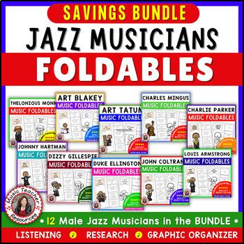 Music: Jazz Musicians: African American Male Jazz Musicians Foldables BUNDLE