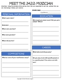 Jazz Musicians - Biographies and Worksheets