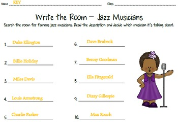 Jazz Pizzazz! Musicians - Write the Room