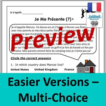 French Reading Comprehension Worksheets (Je Me Présente)