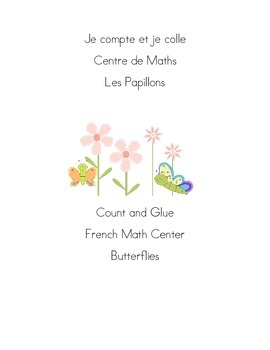 Je compte et je colle addition  Les Papillons Count and Glue Butterfly