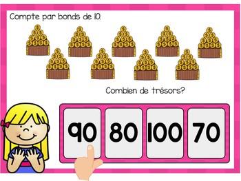 Je compte par bonds de 10: Skip Counting Digital Task Cards in French BOOM CARDS