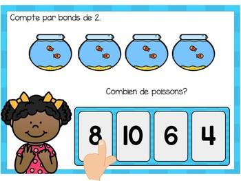 Je compte par bonds de 2:  French Skip Counting Digital Task Cards BOOM CARDS