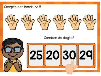 Je compte par bonds de 5:  French Skip Counting Digital Task Cards BOOM CARDS