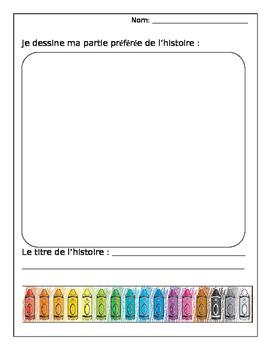 Je dessine ma partie préférée de l'histoire (editable) FRENCH