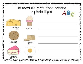 Je joue avec les mots - word work - alphabetical order French